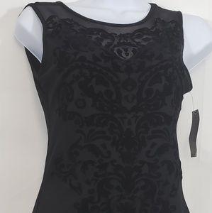 Material Girl Women's Black Velvet Design Bodysuit